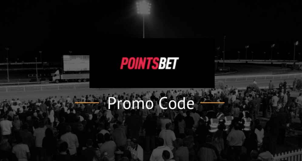 Pointsbet Promo Code text with logo and horse racing track