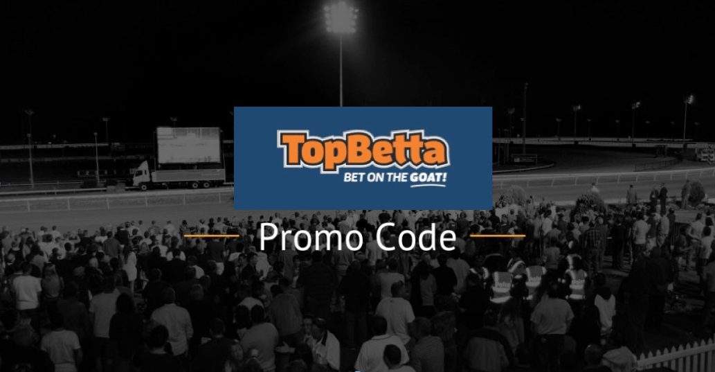 TopBetta Promo Code text and logo and horse racing track image