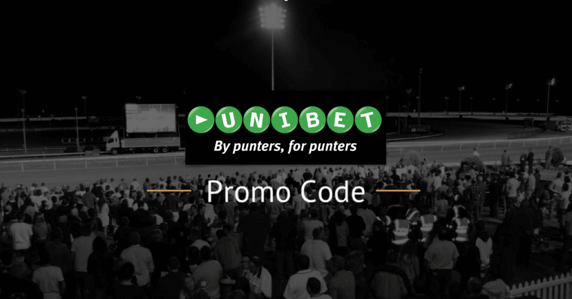Unibet logo with Promo Code and horse racing track background