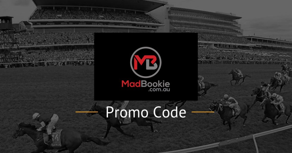 mad bookie promo code text with logo and horse racing