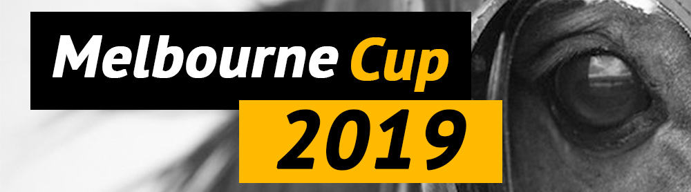 Melbourne Cup 2019 horses logo in black and white
